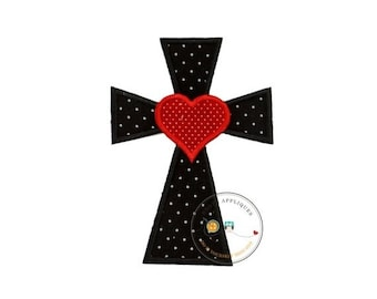 LIQUIDATION SALE Cross with heart in black and white Chevron fabric - iron embroidered fabric applique patch embellishment- ready to ship