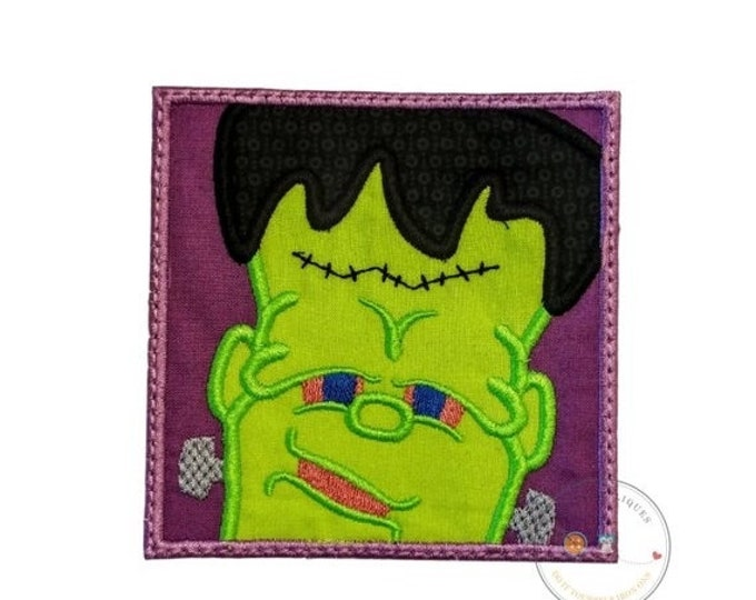 LIQUIDATION SALE Frankinstien in a square fram iron on applique- no sew machine embroidered Halloween patch-DIY boutique fashions- ready to