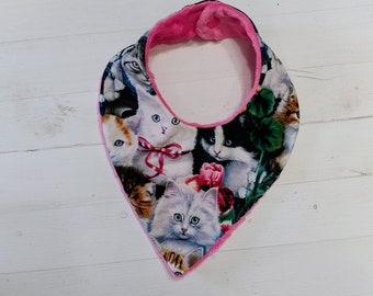 Kitten printed Bandana baby bib for girls with soft pink mink fabric, Cotton and Mink baby bibs