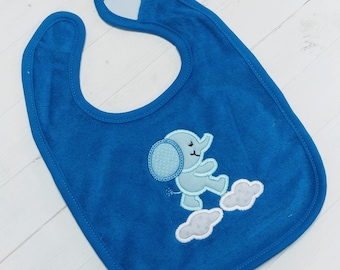 Sweet elephant blue or pink embroidered terri cloth baby bibs for boy and girls