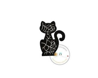 LIQUIDATION SALE Black cat silhouette with silver metallic web pattern fabric iron on applique-Halloween black cat fabric no sew patch- read