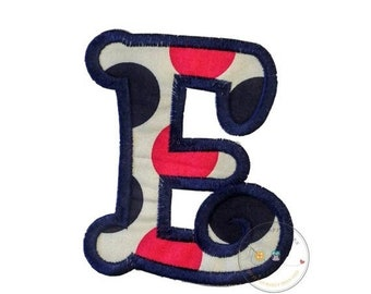 LIQUIDATION SALE Chunky curls letter E iron on applique, Girls nautical monogram, iron on initial E, Blue and pink monogram letter E, Ready