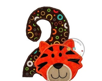 LIQUIDATION SALE Tiger head number two birthday iron on applique in bright orange on top of modern, circle print fabric number two with matc