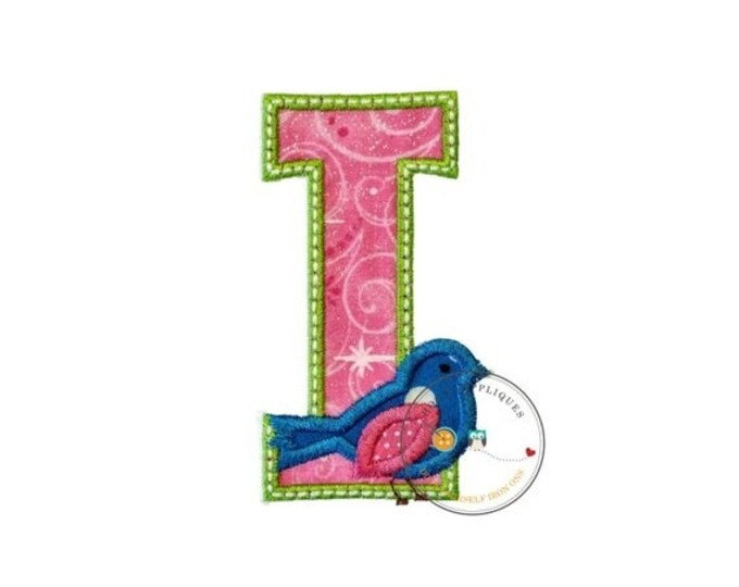 LIQUIDATION SALE Large initial letter I- iron embroidered fabric applique patch embellishment- ready to ship
