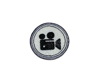LIQUIDATION SALE Movie Camera Merit badge- 2 inch iron on patch- ***Ships in 72 Hours***
