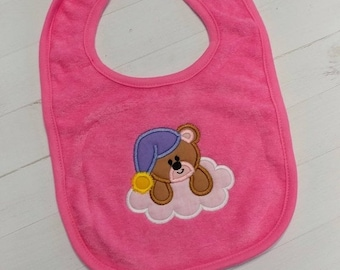 CLEARANCE Sleepy teddy bear blue or pink embroidered terri cloth baby bibs for boy and girls