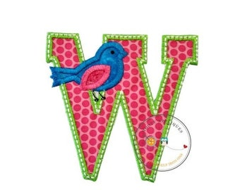 ON SALE Letter w with song bird and white/green trim - iron embroidered fabric applique patch embellishment- ready to ship
