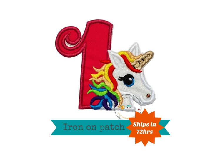 Rainbow hair unicorn first birthday iron on patch