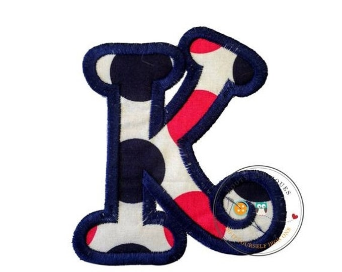 LIQUIDATION SALE Chunky curls letter K iron on applique, Girls nautical monogram, iron on initial K, Blue and pink monogram letter K, Ready
