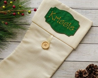 """ON SALE Personalized Christmas Stocking Iron on Name Tag- 4"""" Green and Gold Holiday monogram applique"""