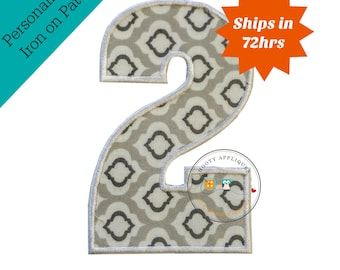 Large gray and white number 2- iron embroidered fabric applique patch embellishment- ready to ship
