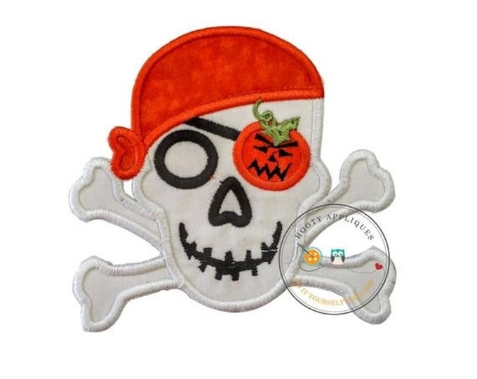 LIQUIDATION SALE Halloween pirate skull and cross bones-orange pumpkin- Iron embroidered fabric applique patch embellishment-ready to ship