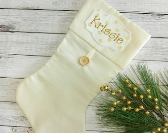 """ON SALE Personalized Christmas Stocking Iron on Name Tag- 4"""" White and Gold Holiday monogram applique"""