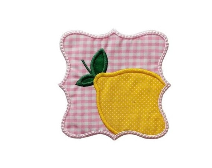 LIQUIDATION SALE Iron on applique- Lemon with gingham- 2 sizes available-***Ships in 72 hours***