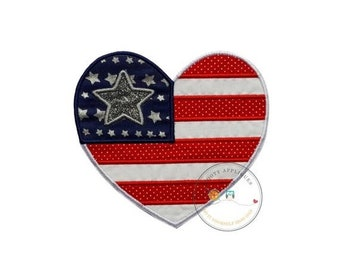 ON SALE Patriotic, iron-on, American flag, heart layered in red/white dots and white--blue fabric with star print and silver glitter vinyl s