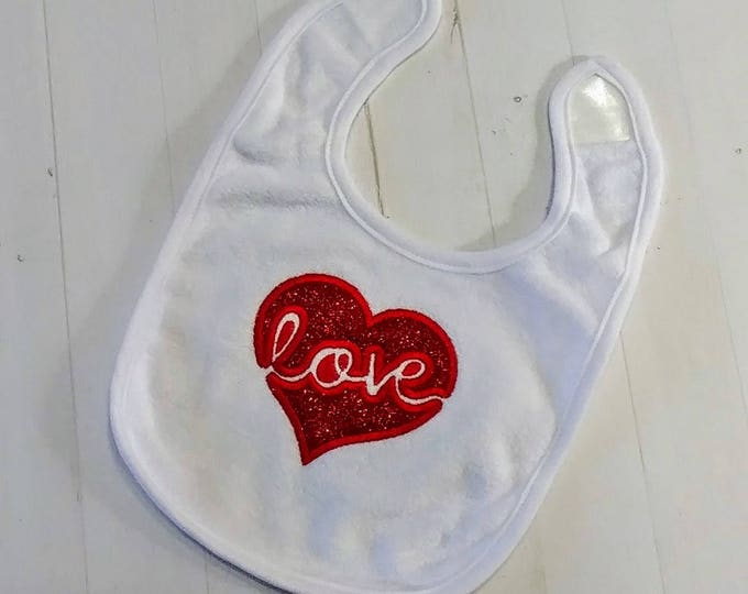 Red glitter Love Valentine's day white embroidered terri cloth baby bibs  girls