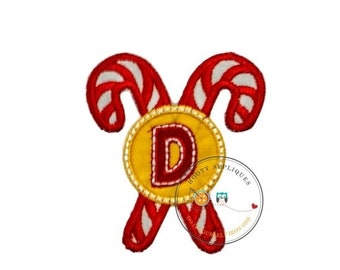 ON SALE Christmas candie cane initial letter D- iron embroidered fabric applique patch embellishment- ready to ship