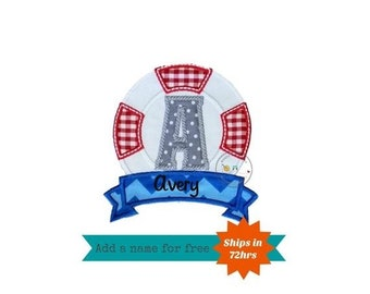 Life guard, nautical letter iron on applique.  A-Z available