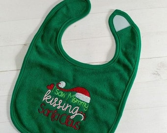 CLEARANCE I saw mommy kissing Santa Claus, Green embroidered terry cloth baby bibs for boy and girls