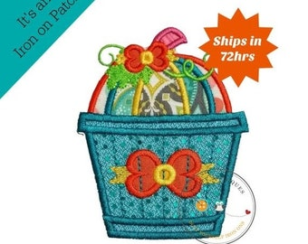 ON SALE Whimsical bucket of pumpkins - large iron embroidered fabric applique patch embellishment- ready to ship
