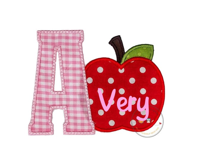 Gingham Letters with bright red apple iron on patch
