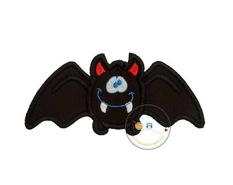 LIQUIDATION SALE Halloween happy bat - iron embroidered fabric applique patch embellishment- ready to ship