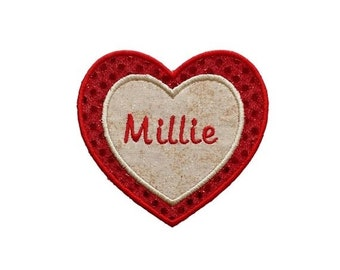 LIQUIDATION SALE Sequin Heart name tag- Red and gold- Personalizable- ***Ships in 72hrs***