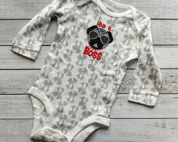 Like a Boss baby bodysuite- gray and white- *** Ready to Ship***