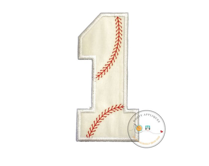 Large baseball number-Iron on embroidered fabric applique patch embellishment- ready to ship