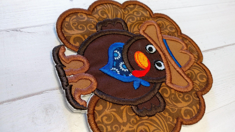 Cowboy turkey fabric iron on applique western thanksgiving turkey