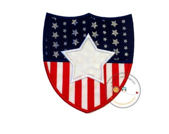Stars and stripes shield iron on applique-large red white and blue holiday machine embroidered fabric patch-DIY boutique fashions