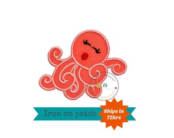 Coral girly octopus ocean fish iron on applique