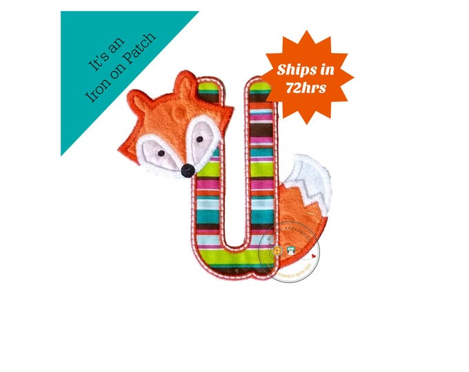 Woodland fox letter U machine embroidered iron on no sew patch, fox embroidered monogram letter u, ready to ship