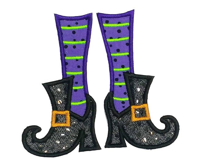 Witch's feet with purple and green leggings Halloween iron on applique