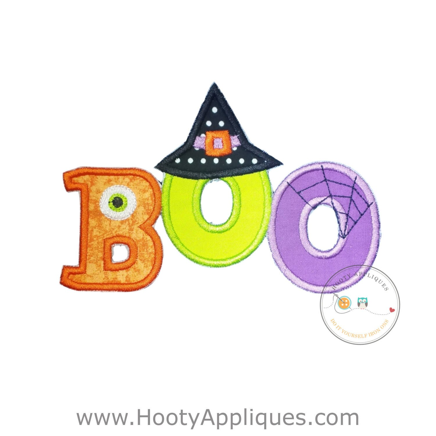 boo halloween text emoridered fabric iron on applique cute monster and witch letter no sew iron on halloween patch ready to ship pre made