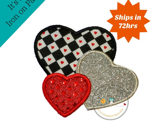 Small 4x4 Valentine's day heart trio iron on applique, Glitter emboridered kids valentine iron on patch, red sequin iron on heart applique