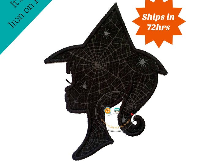 halloween witch sillouette - iron embroidered fabric applique patch embellishment- ready to ship