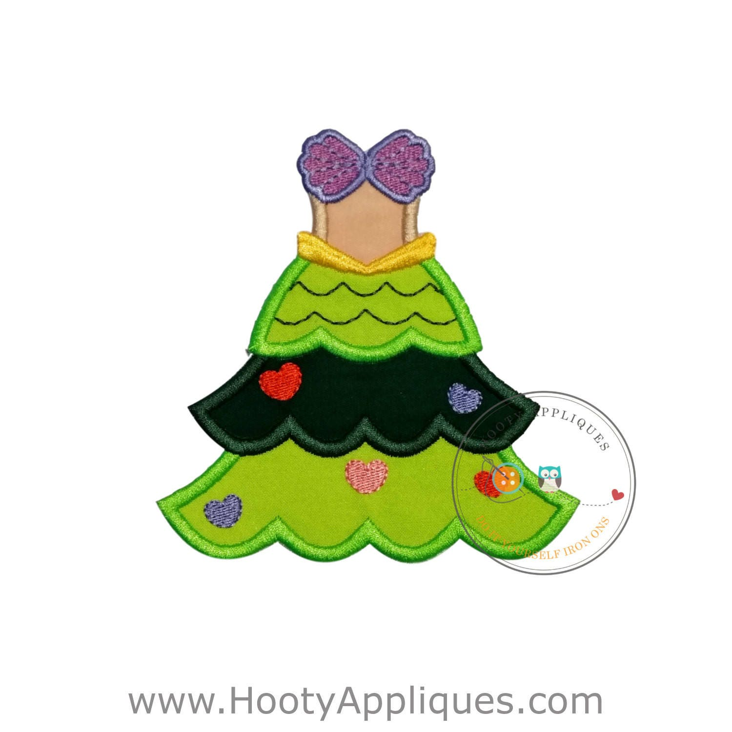 Mermaid princess iron on Christmas tree fabric applique, Machine ...