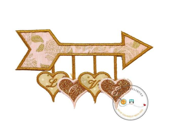 Love arrow with heartiron on patch, Valentine's day embroidery patch, Glitter heart iron on applique, Personalized embroidered iron on patch