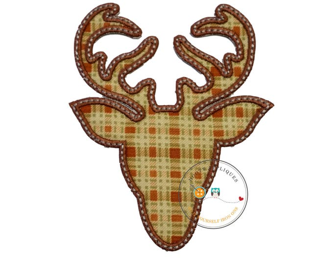 Plaid deer head with brown trim- iron embroidered fabric applique patch embellishment- ready to ship