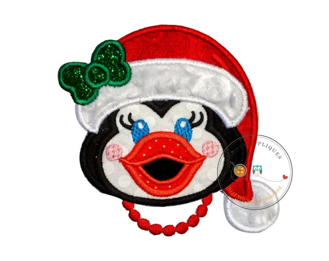 Cheerful Christmas girl penguin iron on fabric applique, Machine embroidered Christmas holiday no sew patch, easy Christmas outfit for girl