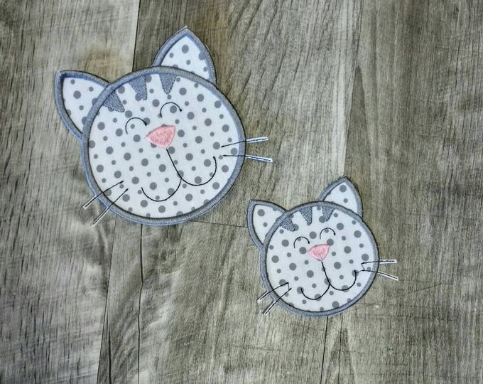 Gray  and white cat face iron t-shirt applique- ready to ship