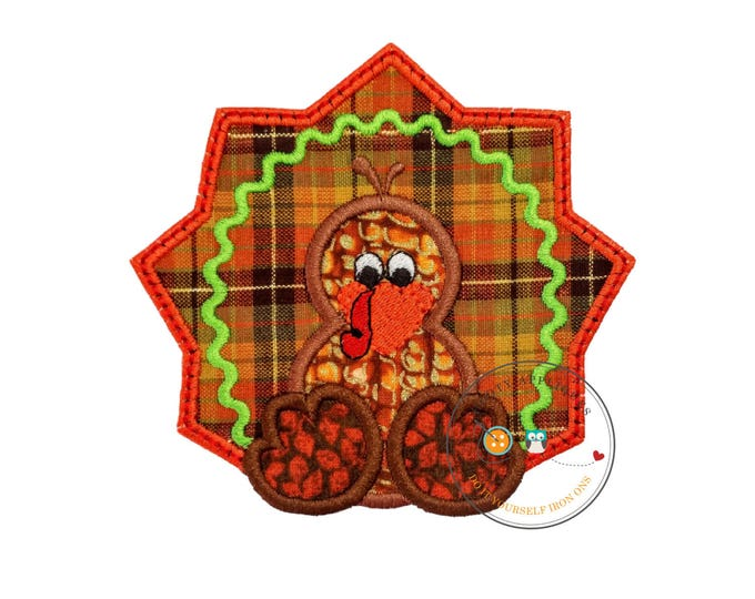 Fall orange and brown turkey- baby - iron embroidered fabric applique patch embellishment- ready to ship