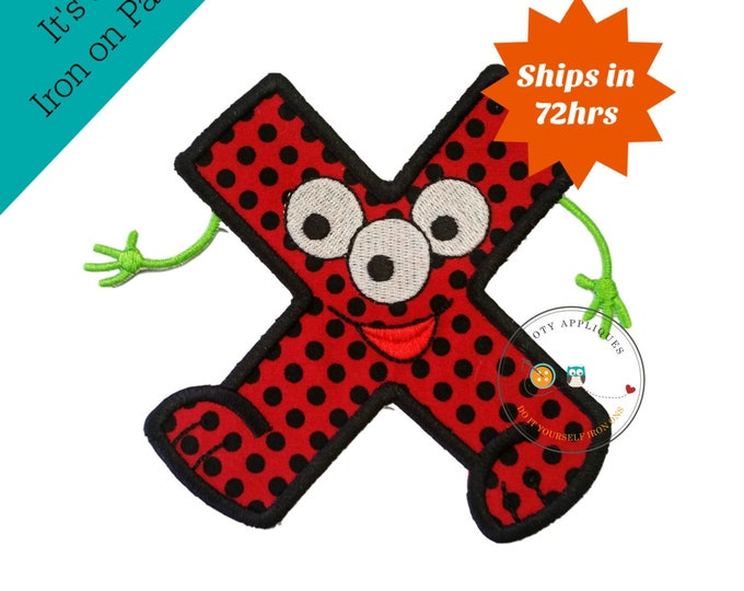 Monster letter X applique, initial embroidered patch, bright iron on applique letter, iron on letter embellishment, iron on monogram patch