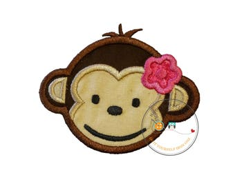 Girl mod monkey face. Iron embroidered fabric applique patch embellishment-ready to ship