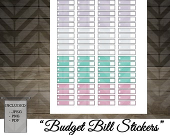 Printable Budget Bill Stickers / Happy Planner / Erin Condren / Recollections / Printable Planner Stickers