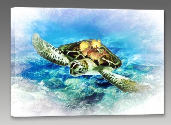 sea turtle painting canvas turtle art sea turtle wall art | etsy