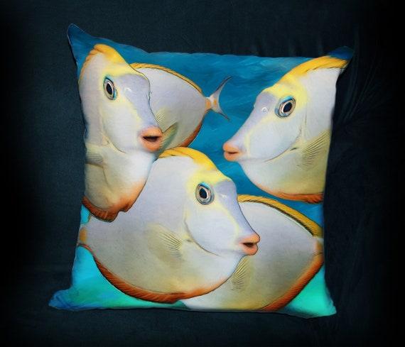 Ocean Gift for Tropical Fish Lover Guy Gift Coastal Decor Tropical Fish Pillow Yellow Pillow PILLOW Beach Tropical Nautical Decor