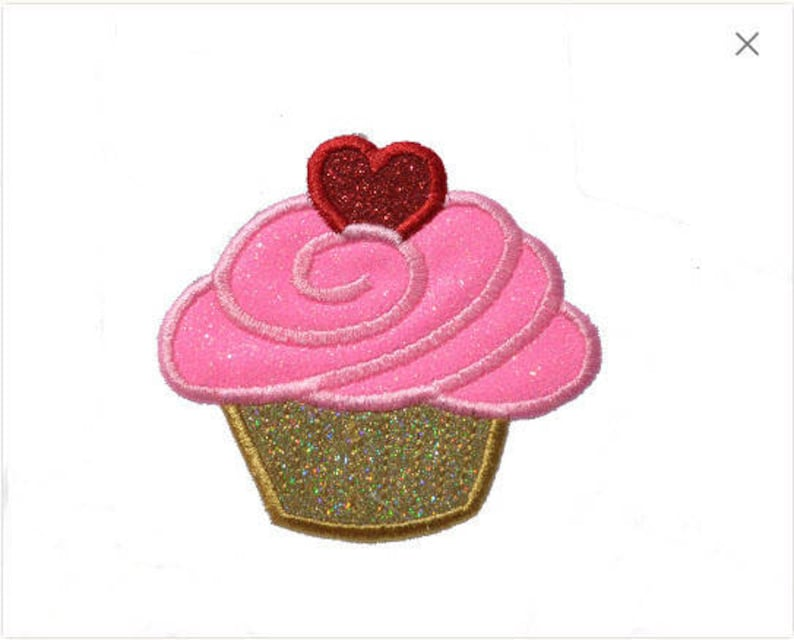 Heart Embroidered Iron On Patch Dessert Cupcake Candy Love