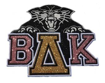 Bob Cat bobcat and Greek Varsity Dance Costume Glitter Patches Letter Set Custom Glitter Patch -  Sew on Vinyl - NO GLITTER MESS! Gl237